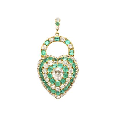 Victorian Emerald and Diamond Padlock Heart Locket Pendant
