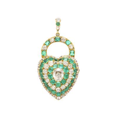 Victorian Emerald and Diamond Padlock Heart Locket Pendant