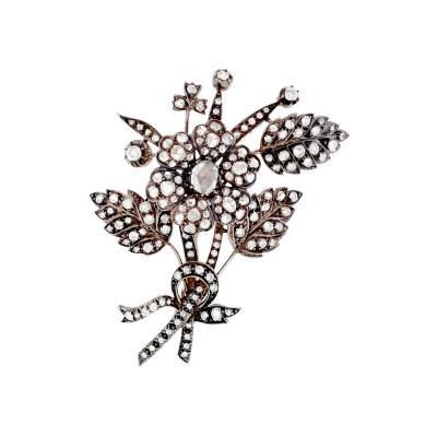 Victorian En Tremblant Diamond Silver Gold Floral Brooch