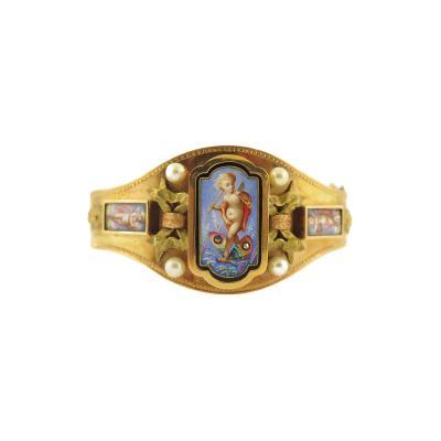 Victorian Enamel Cherub Gold Bangle