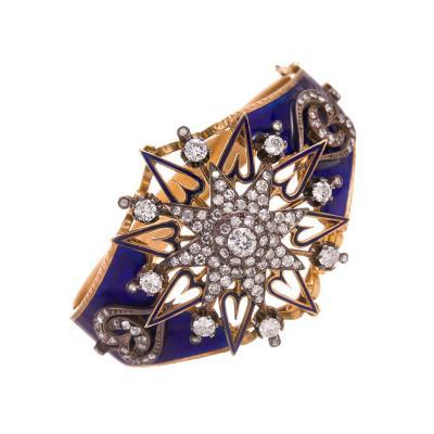 Victorian Enamel and Diamond Sunburst Heart Bangle Bracelet