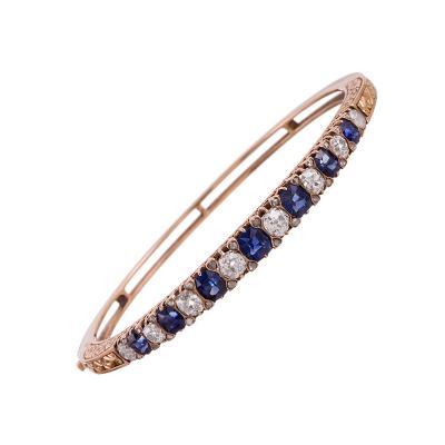 Victorian English Carved Sapphire Diamond Bangle