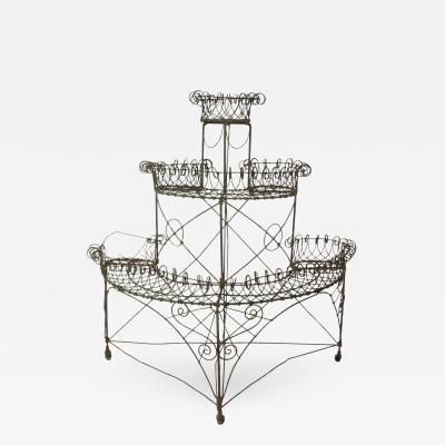 Victorian Era French Wirework Demilune Planter 19th Century