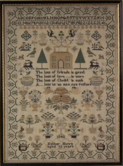 Victorian Folk Art Textile Sampler Dated 1840 by Esther Nunn