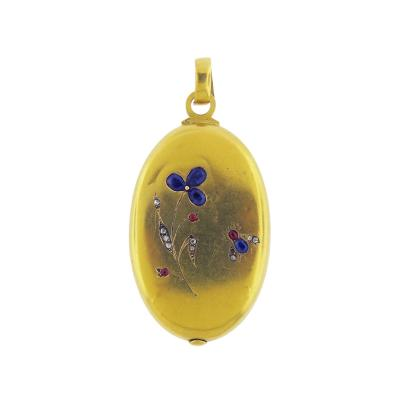 Victorian Gem Set Oval Locket Pendant