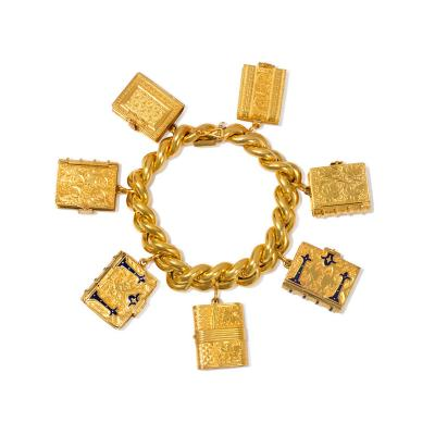 Victorian Gold Charm Bracelet with Book Form Lockets