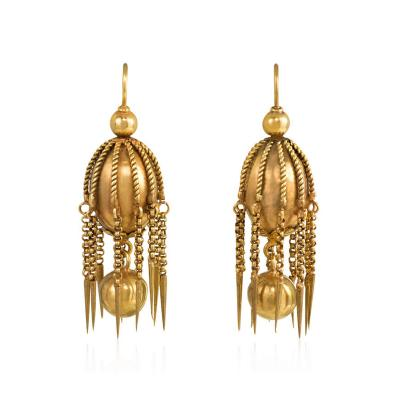 Victorian Gold Earring of Bead and Fringe Design