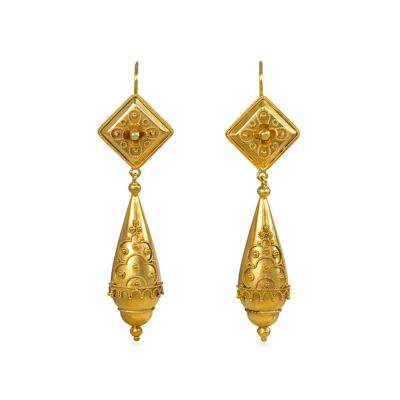 Victorian Gold Etruscan Style Pendant Earrings