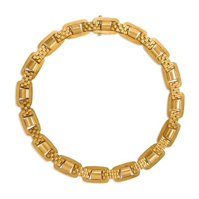 Victorian Gold Oblong Link Collar Necklace with Brick Link Spacers in 15K