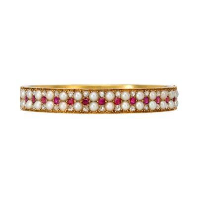Victorian Gold Pearl Ruby and Rose Diamond Bangle Bracelet