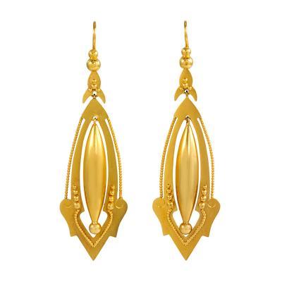 Victorian Gold Pendant Earrings