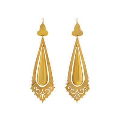 Victorian Gold Pendant Earrings with Incised Detail England