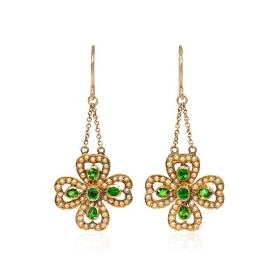 Victorian Gold Seed Pearl and Demantoid Garnet Four Leaf Clover Earrings