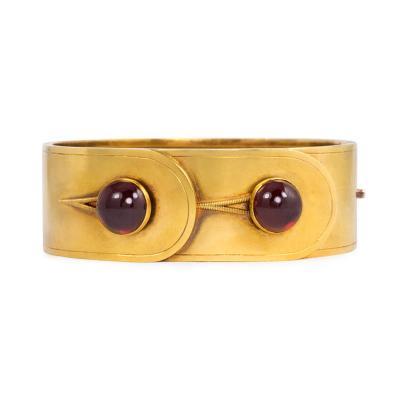 Victorian Gold and Cabochon Garnet Cuff Bracelet