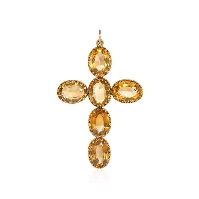 Victorian Gold and Citrine Cross Pendant