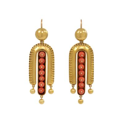 Victorian Gold and Coral Etruscan Revival Earrings