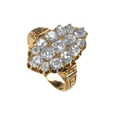 Victorian Gold and Diamond Navette Ring