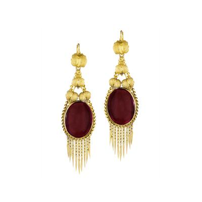 Victorian Gold and Garnet Fringe Earrings