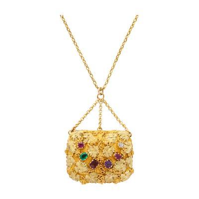 Victorian Gold and Multi gem Acrostic Locket