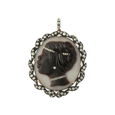 Victorian Hardstone and Diamond Cameo Pendant