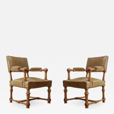 Victorian Leather and Oak Armchairs