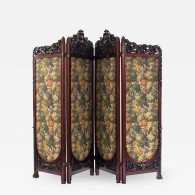 Victorian Mahogany 4 Fold Screen