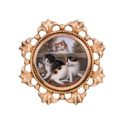 Victorian Miniature Portrait Pin Pendant in Rose Gold Frame