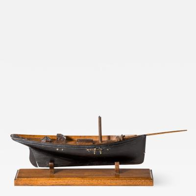 Victorian Model Of A Racing Yacht On A Wooden Stand Original Paint
