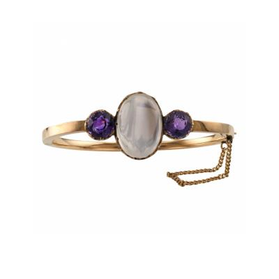 Victorian Moonstone and Amethyst Bangle
