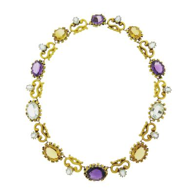 Victorian Multi Gem Set Repouss Necklace