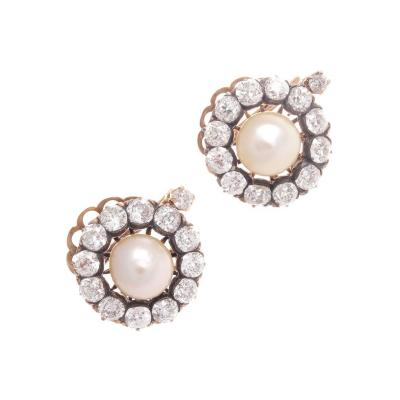 Victorian Natural Pearl Diamond Earrings