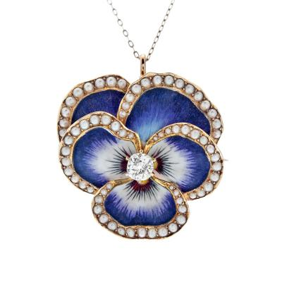 Victorian Natural Pearl Pansy Enamel Pendant Brooch