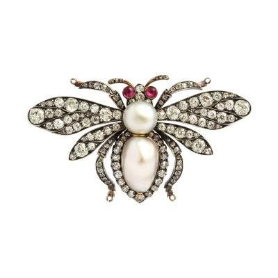 Victorian Natural Pearl and Diamond Bumble Bee Brooch
