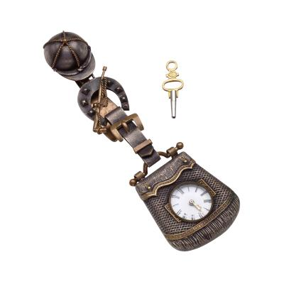 Victorian Niello WatchKey wound watch with equestrian style case and chatelaine