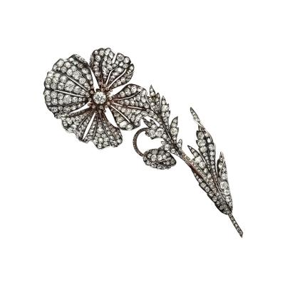 Victorian Old Mine Diamond Floral Spray Brooch