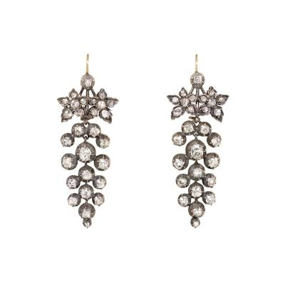 Victorian Old Mine Diamond Grape Cluster Earrings