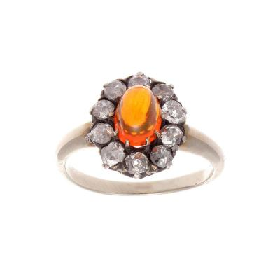 Victorian Opal Diamond Silver Gold Ring