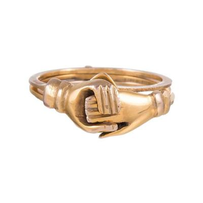 Victorian Opening Gold Claddagh Ring