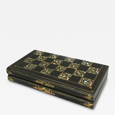 Victorian Papier Mache Mother of Pearl Chess and Backgammon Games Box