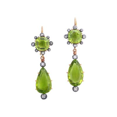 Victorian Peridot and Diamond Pendant Earrings