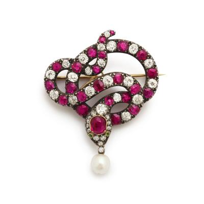 Victorian Ruby Old Mine Diamond and Natural Pearl Snake Pendant Pin