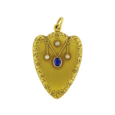 Victorian Sapphire Diamond Heart Shaped Locket Pendant