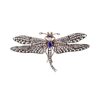 Victorian Sapphire Diamond Silver Gold Dragonfly Brooch