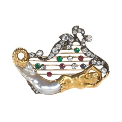 Victorian Silver Topped Gold Diamond Emerald Ruby and Baroque Pearl Brooch