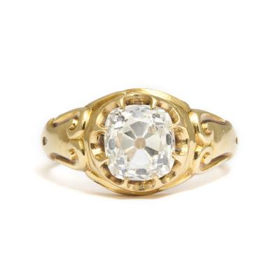 Victorian Solitaire Old Mine Diamond and Gold Ring