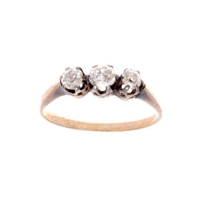 Victorian Three Stone Diamond Gold Ring
