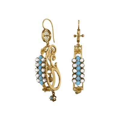 Victorian Turquoise Pearl and Gold Scroll Earrings