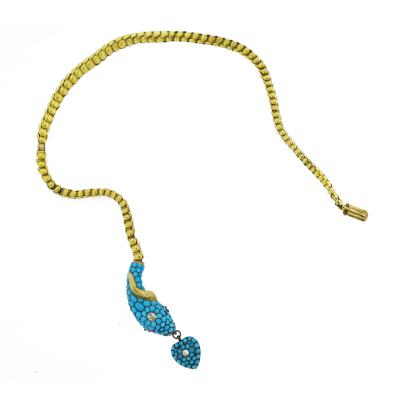 Victorian Turquoise Snake Head Gold Necklace