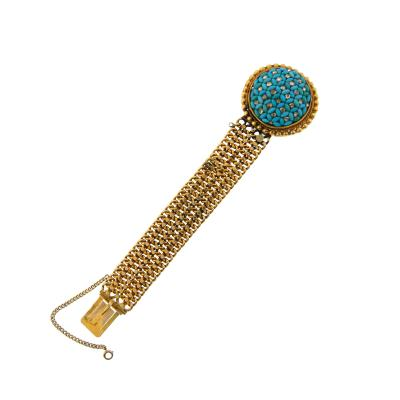 Victorian Turquoise and Diamond Gold Bracelet