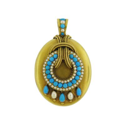 Victorian Turquoise and Pearl Gold Locket Pendant